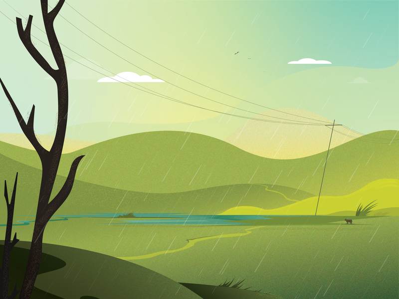 morning vibe with slight rain scenery digital painting landscape nature vector art illustration illustrator morning