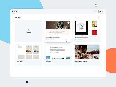 Rise Website Builder websitebuilder builder dashbaord ux admin design product design ui