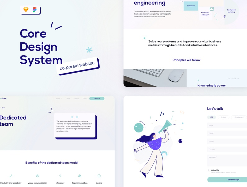 Corporate website Design Template web design webdesign website design figma sketch shots icon template it company corporate design design system ui kit typography illustration web dashbaord ux ui
