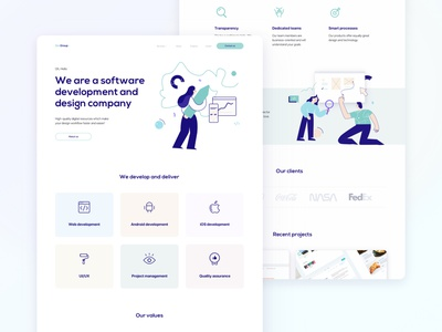 Corporate website template landing page design system ui kit design templatedesign development it company software design illustration typography userinterfaces design web ux ui