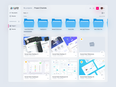 Axure Cloud Concept cloud folders concept userinterfaces product design dashbaord ux ui