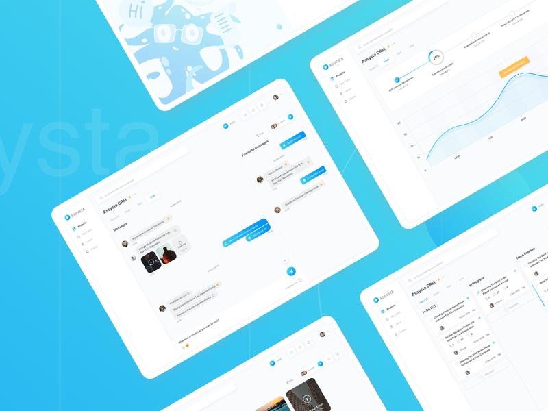 Assysta CRM gradient chat typography logo illustration graph crm userinterfaces product design admin design web design dashbaord ux ui
