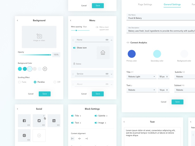 Web builder: Settings popup interface site builder web builder template settings sketchapp dashbaord product design design web ux ui