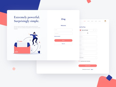 Zing: Sign in simple design illustration admin design userinterfaces product design design web ux ui dashbaord sketch sign in