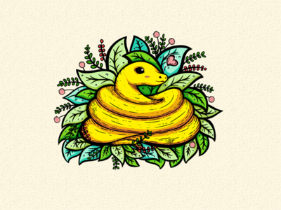 Yellow Snake Illustration