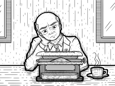 Blog Illustration digital tie bold suit typewritter man drawing line lineart art illustration blog