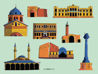Damascus Landmarks syria landmark landmarks damascus illustration