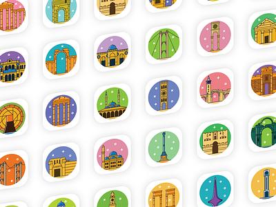 Syrian Icons landmarks landmark flat web app design syria ux icons icon ui illustration