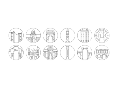 Syrian Icons Non Colored-Lines web ux ui syria landmarks landing illustration icons icon flat design app