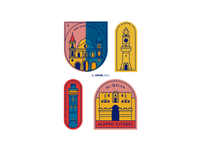 What does Aleppo famous for? art aleppo icons icon syria landmarks illustration