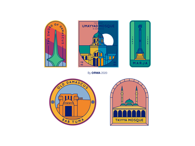 What does Damascus famous for? flat vector design landmarks icons icon illustration syria damascus