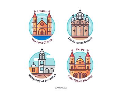 Syrian Churches logo church aleppo damascus illustration city landmarks design flat icons icon syria