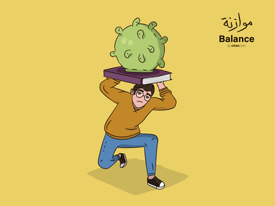 Balance flat vector book education virus corona covid19 art design illustration
