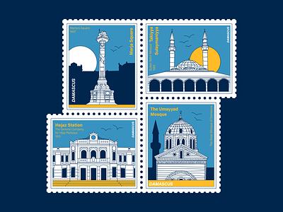 historical landmarks of Damascus (1/2) stamps stamp vector damascus icons syria landmarks flat design illustration