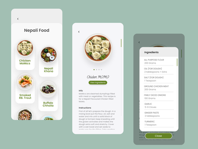 Recipe #DailyUI #040 simple dailyui040 dailyui 040 recipe app fish dumplings momo daily ui figmadesign food recipe ui dailyuichallenge figma 040 dailyui