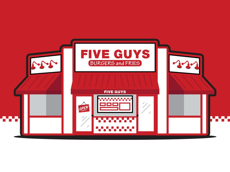 Five Guys Restaurant Illustration design shakes fries burgers black red graphic simple illustration restaurant fiveguys