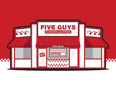 Five Guys Restaurant Illustration design shakes fries burgers black red graphic simple illustration restaurant fiveguys