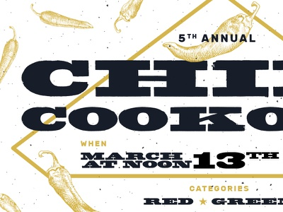 5th Annual Chili Cookoff gritty slab serif typography chilicookoff cookoff chili