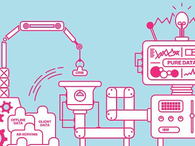 Pure Data System blue pink mechanical machine analytics illustration data