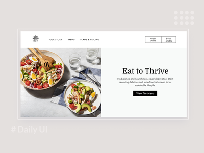 Daily UI / Hero image balanced arabic ui design foodwebsite dailyui