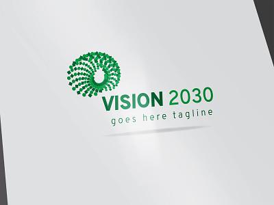 logo vision 2030 trend vision eye era 2030 creative design typography vector branding illustration