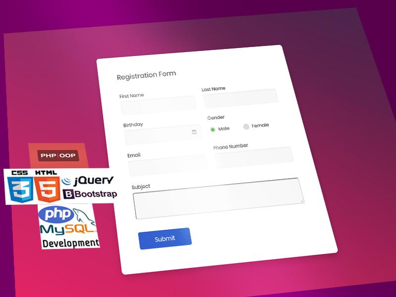 OOP Registration System insert register form mysql htmlcss javascript jquery html web php