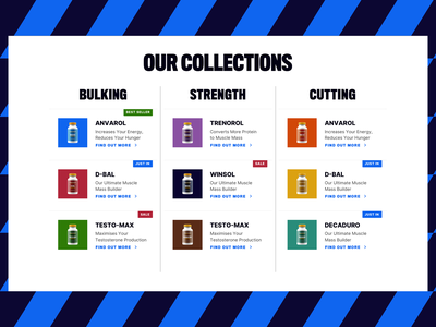 Product collection supplements website design