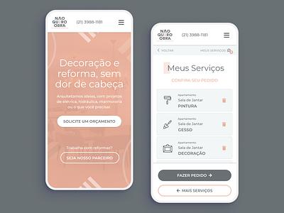 Não Quero Obra - Mobile UI ux  ui interface design user inteface web  design mobile ui