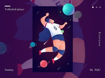 Volleyball player web ui design illustration flat
