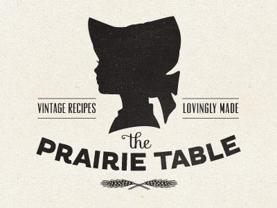 The Prairie Table Logo logo vintage girl bonnet recipe home made black and white packaging
