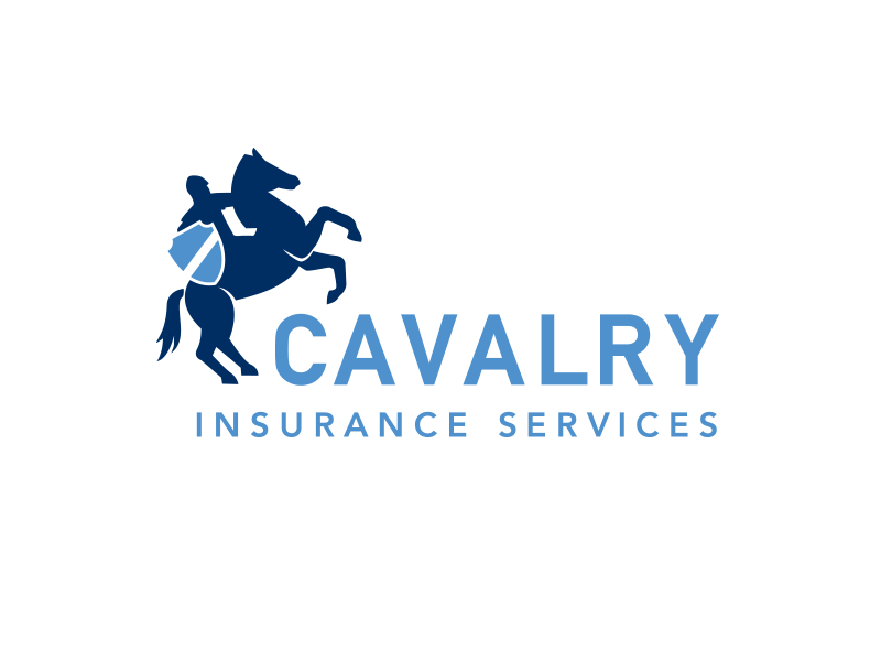 Cavalry Insurance Logo insurance blue shield soldier horse cavalry logo