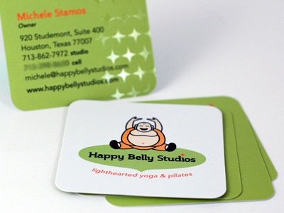 Happy Belly Studios Biz Card business card yoga print spot gloss uv fun