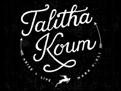 Talitha Koum t-shirt gazelle christian hand drawn handlettering typography