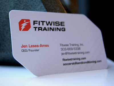 Fitwise Training Business Card logo business card custom red black sport training fitness