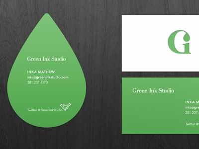 My Biz Cards (WIP) business card green white diecut ink droplet