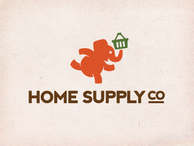 Home Supply Co. Logo logo elephant basket run delivery shop grocery
