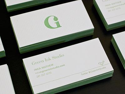 Letterpress Business Cards business card letterpress blind emboss edge painting green