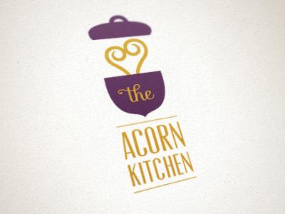 The Acorn Kitchen Logo logo acorn pot cooking steam pop-up restaurant non-profit charity purple mustard