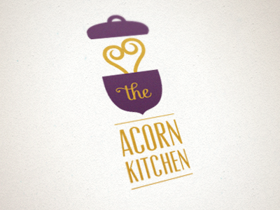 The Acorn Kitchen Logo logo acorn pot cooking steam pop-up restaurant non-profit charity purple mustard