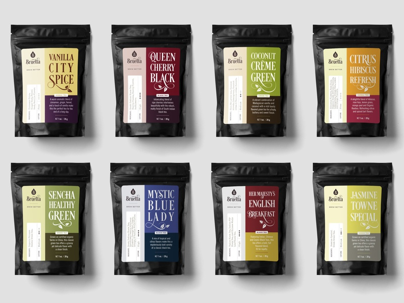 Bruetta Packaging instructional illustration label and box design label design branding tea pouch packaging design packaging