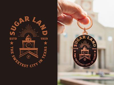 Sugar Land Badge Design & Keychain copper and black vintage style keychaindesign keychain city logo logo design badge logo city badge