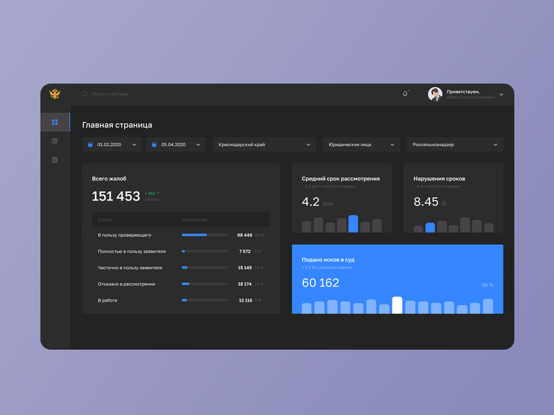 Pre-Trial Appeal Dashboard – Dark Mode government dashboad app ui web website