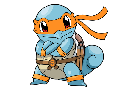 Teenage Mutant Ninja Squirtle illustration mashups michelangelo teenage mutant ninja turtles tmnt pokemon squirtle