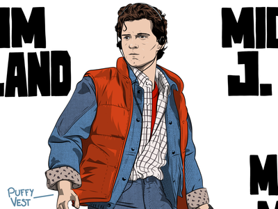 Tom Holland / Marty McFly BTTF mashup illustration mashup illustration tom holland marty mcfly back to the future