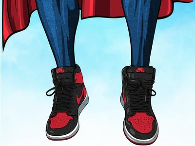 Superman / Jordan 1 adobe draw mashup illustration jordan brand michael jordan dc comics basketball nike jordan superman
