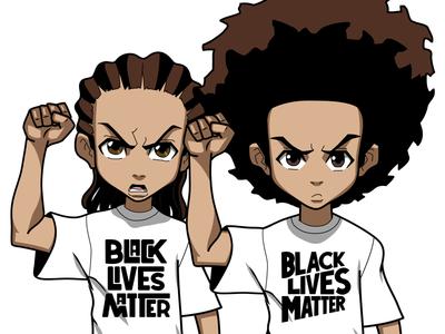 Boondocks protest adobe draw illustration cartoon network riley freeman huey freeman boondocks black lives matter