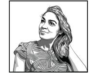 Alexandria Ocasio Cortez in black & white