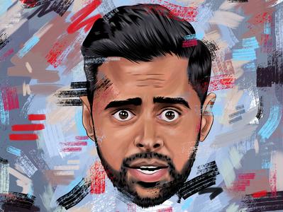 Hasan Minhaj art design digital art apple pencil graphic design celebrity adobe fresco fan art adobe illustration patriot act netflix