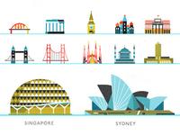 Singapore and Sydney landmarks