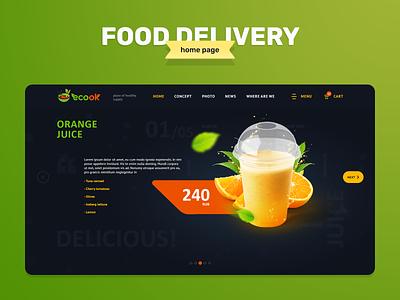 EcoOk - Food Delivery (Home page) icon design fast food ecology food delivery slider design online store commerce online shop ux ui uiux illustration photoshop web design webdesign online store e-commerce ecommerce